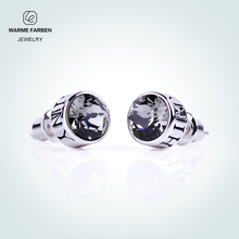 Warme Farben 925 Silver Stud Earrings For Men Jewelry Brincos Unisex Crystal From SWAROVSKI Black Round Push-back Punk Earrings