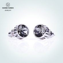 Warme Farben 925 Silver Stud Earrings For Men Jewelry Brincos Uni Crystal From Swarovski Black Round Push Back Punk