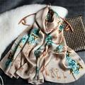 180*55cm 100%Natural Silk Key/Flower Printed Luxury Brand Women Winter Scarves 2017 New Designer Scarf Echarpe Foulard S6