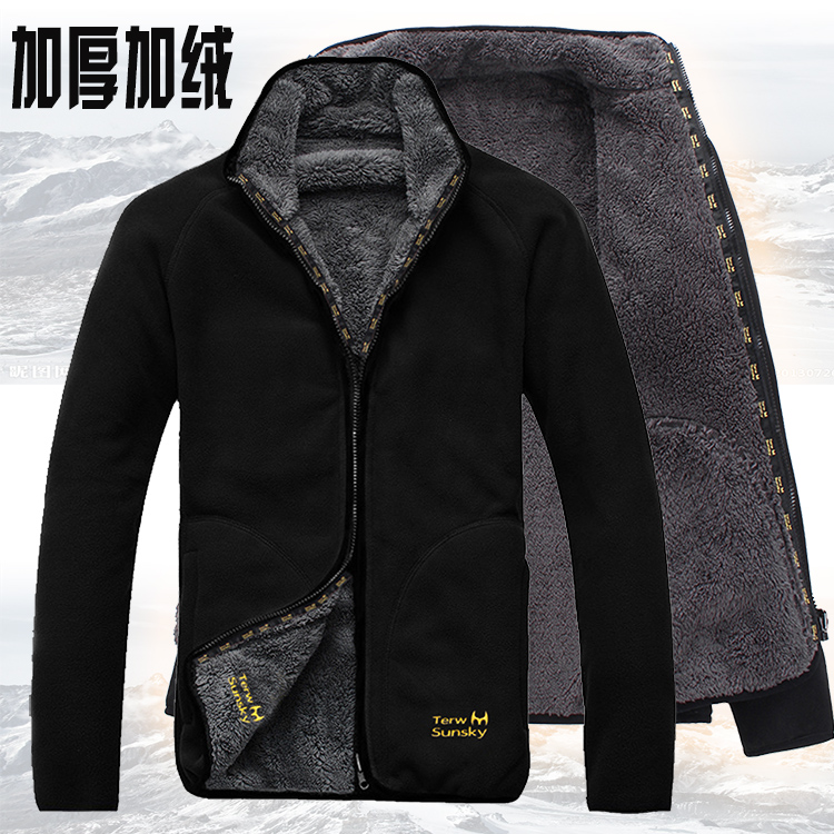 Jackets Coat Cardigan Cold-Resistance Outdoor Polar-Fleece Pullover And Wool on Men Both-Sides title=