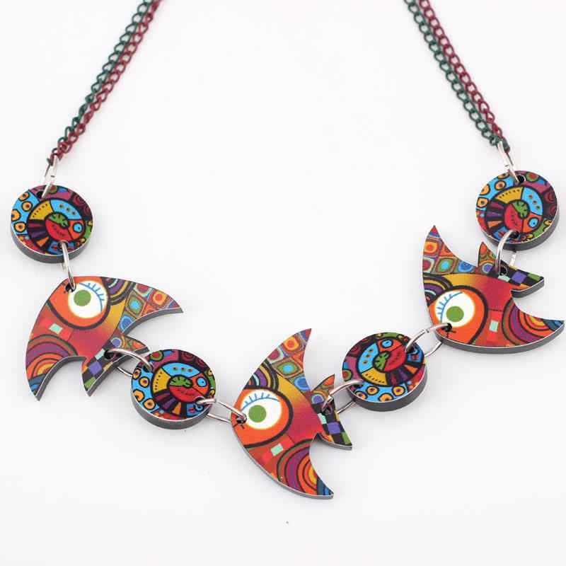 Bonsny colorful fish necklace  face new 2014 lovely cutependant fashion girls acrylics  for woman Free shipping