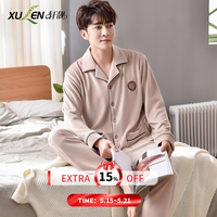 Winter thick coral fleece men pajamas sets of sleep suit & pants male flannel warm sleepwear home variety luxury clothing