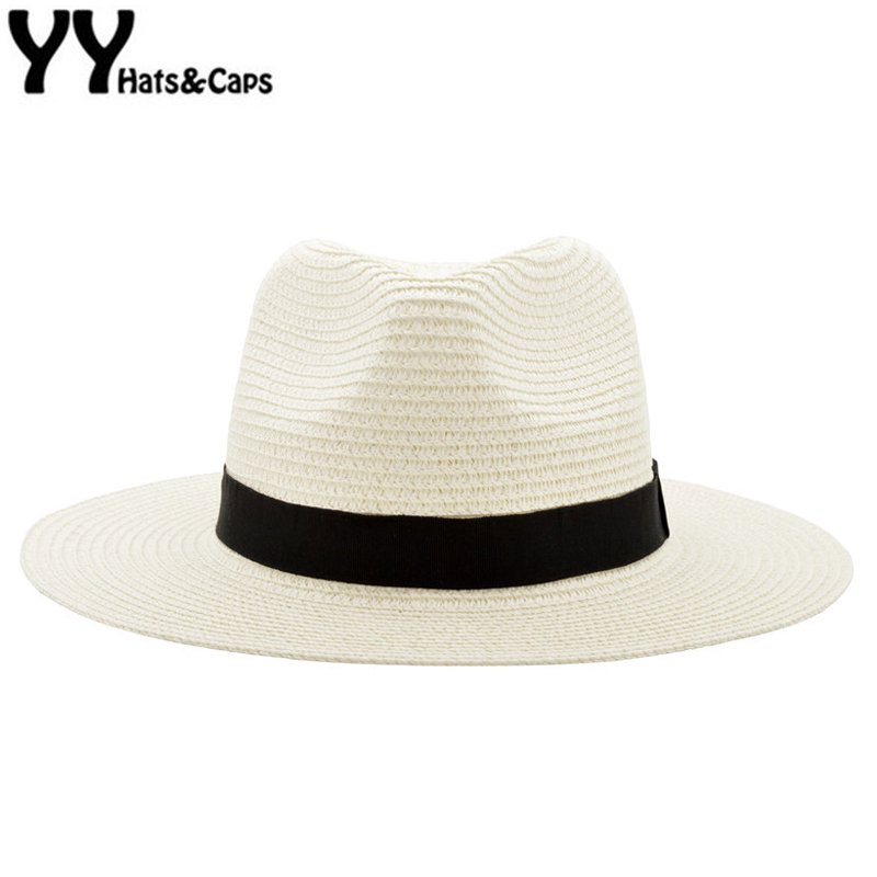 Wide Brim Summer Fedora Jazz Cap Straw Panama Hats For Men Straw Sun Hats Women Beach CAPS Couple Sun Visor Hats Chapeu YY18030