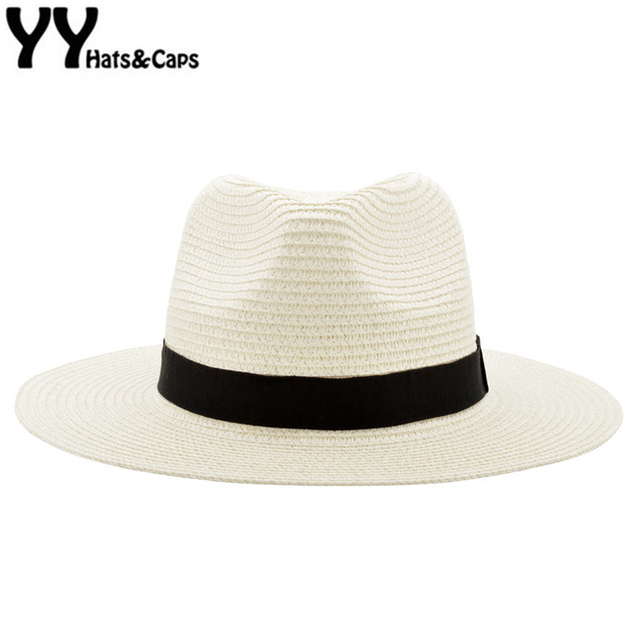 6a0e8f0d9d4 Wide Brim Summer Fedora Jazz Cap Straw Panama Hats For Men Straw Sun Hats  Women Beach CAPS Couple Sun Visor Hats Chapeu YY18030