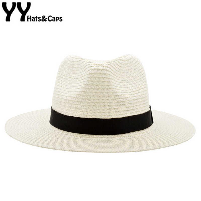 caf0d313f187cb Wide Brim Summer Fedora Jazz Cap Straw Panama Hats For Men Straw Sun Hats  Women Beach
