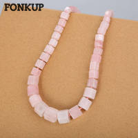 Fonkup Rose Quartz Necklace Geometric Jewellery Hyperbole Women Ornaments Wedding Crystal Pendant Rope Chain Natural Stone Gem