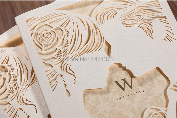 50pcs bride groom laser cut wedding invitations cards with 50