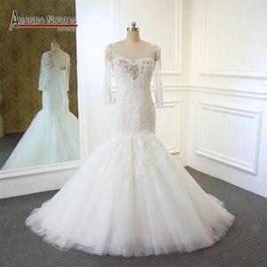 Image 1 - Новый дизайн, свадебное платье с длинным рукавом и вырезом из бисера, кружевное, Русалка, настоящее Аманда, новинка 2019