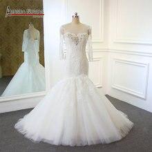Vestido de novia de manga larga con cuello de cuentas, encaje, sirena, Real, Amanda, Novias, 2019