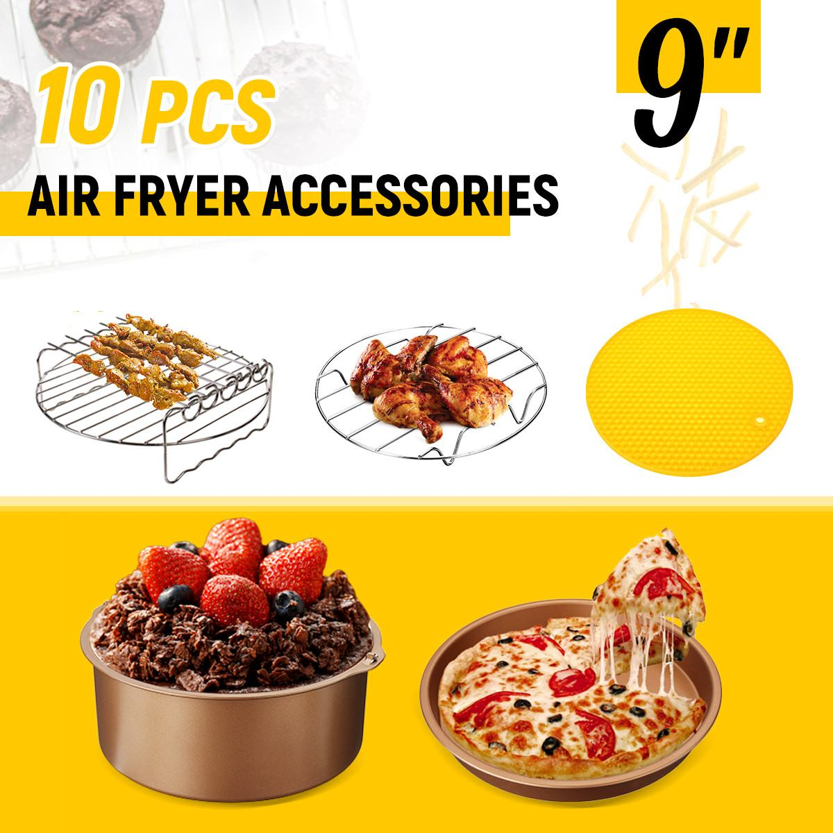 "5 Pcs 9 ""Non   stick ซิลิโคน Air Fryer อุปกรณ์เสริม Barrel เค้กพิซซ่า Pan โลหะผู้ถือ Skewer Rack สำหรับ 5.3   6.8QT Air Fryer ใหม่-ใน ชิ้นส่วนหม้อทอดไฟฟ้า จาก เครื่องใช้ในบ้าน บน title="