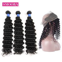 Smoora Braziliain Hair 360 Lace Frontal Closure With 3 Bundles Deep Wave Human Hair Bundles With Pre Plucked 360 Closure NonRemy