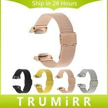 Milanese reloj band + adaptadores + herramientas para samsung gear s2 SM-R720/R730 Correa de Pulsera de Acero Inoxidable Negro de Oro Rosa de Plata