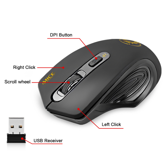 iMice Wireless Mouse 4 Buttons 2000DPI Mause 2.4G Optical USB Silent Mouse Ergonomic Mice Wireless For Laptop PC Computer Mouse