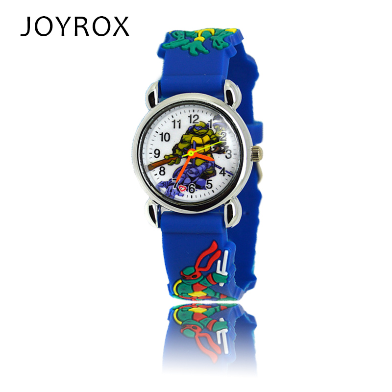 JOYROX New Ninja Turtle Pattern Rubber Strap Children Watch Fashion Boys Girls Quartz Wristwatch Cool Kids Sports Cartoon Clock beautiful cartoon rubber strap quartz watch with plane and cloud shaped watchband for children azure