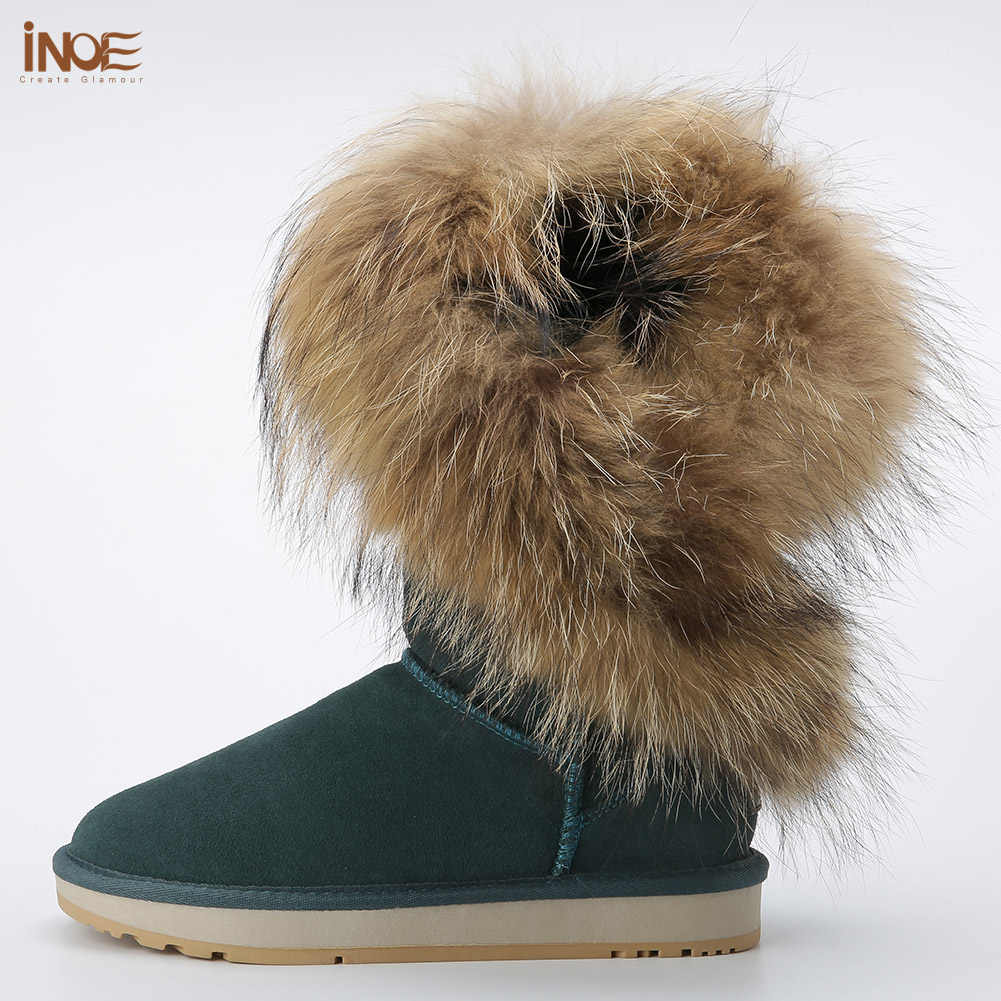 INOE טבע גבוה אופנה מגפי שלג בחורף נשים פרוות שועל פרווה עור כבש אמיתי מרופד חורף מגפיים חומים שחור ללא החלקה