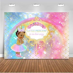 Fondo de fiesta de bienvenida de bebé Princesa Real Rosa plata diamante bebé ducha fondo de vinilo niña Baby Shower banderines para fiesta de cumpleaños