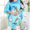 New Arrival Light Blue Female Faux Silk Nightwear Stylish Fashion Lounge Dress Soft Home Wear Flower Kimono Gown One Size