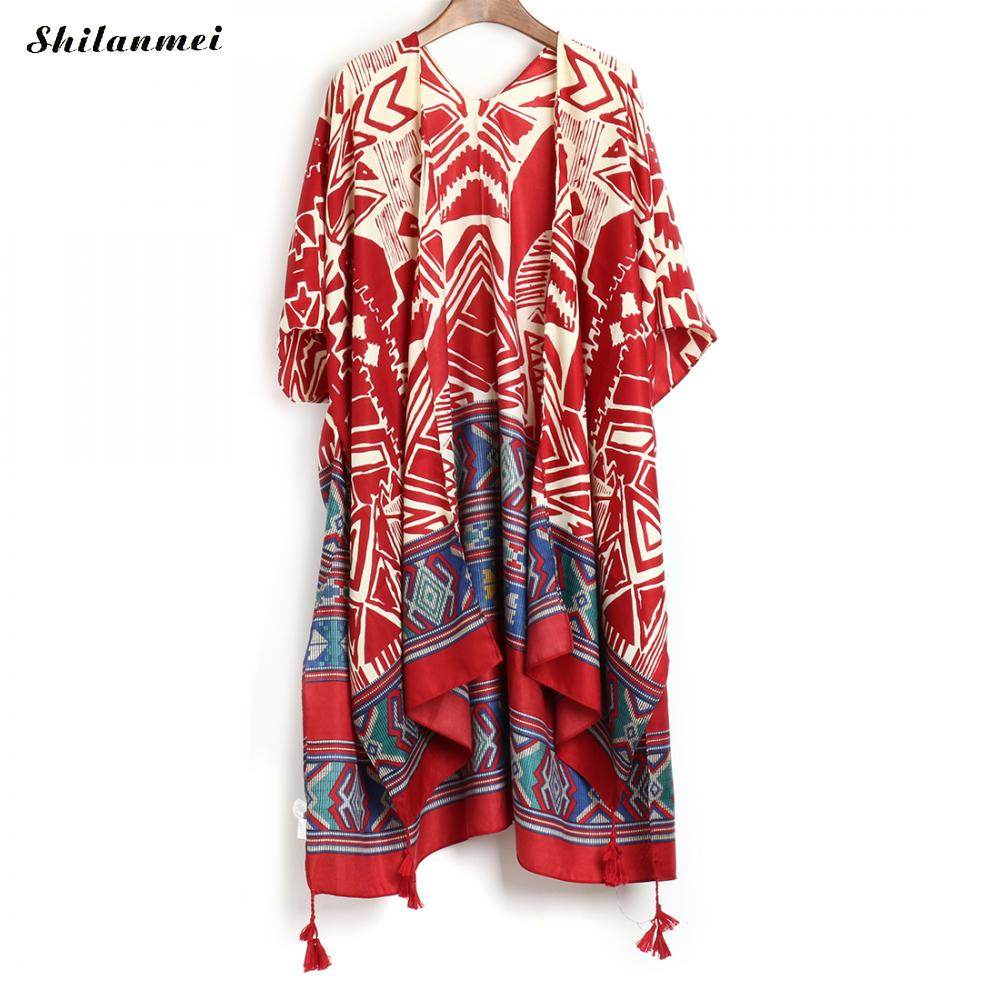 New Boho Irregular Printed Kimono Cardigan 2018 Summer Women Blusas Casual Loose Bohemian   Blouse     Shirts   Long Outerwear 8 Style