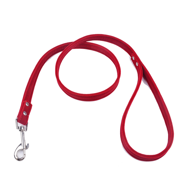 Pet Lead Leash For Puppy Dogs Cats Red Pink Black Brown Velvet Leather Dog Leash Outdoor Security Training Dog Collars