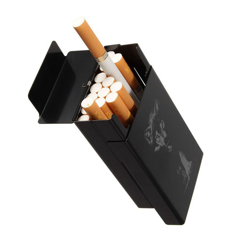 Ultra Thin Black Wolf Metal Cigarette Holder