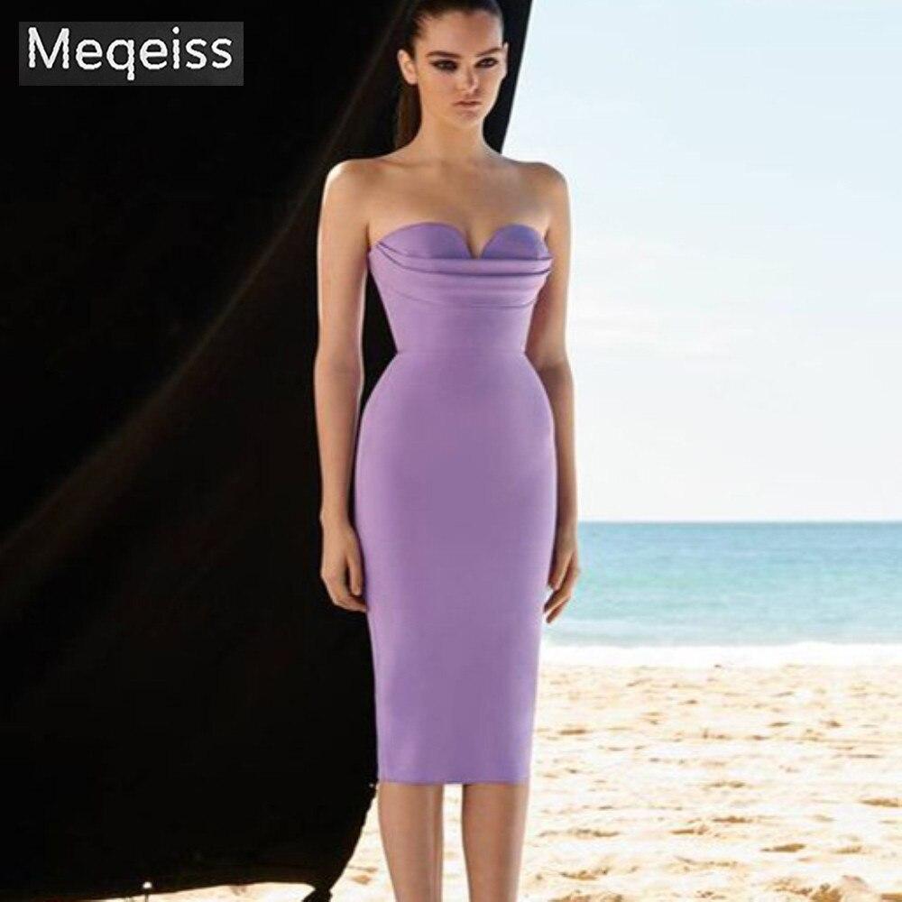 2019 New Summer Bandage Dress Women Vestidos Sexy Strapless Midi Club Dress Elegant Celebrity Evening Runway