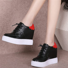 Wedges Platform Oxfords Women Trainers Shoes Genuine Leather High Heel Party Pumps Casual Black White Tennis