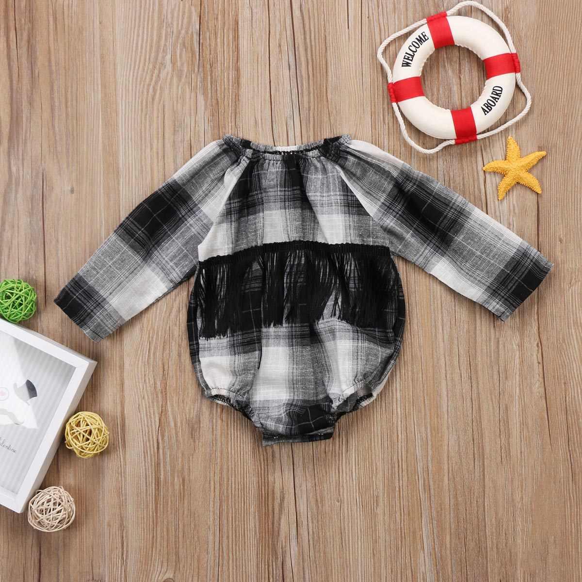 Pudcoco/2017 клетчатое боди в черно-белую клетку с длинными рукавами и кисточками для новорожденных девочек, повседневная одежда, новинка, для детей от 0 до 18 месяцев