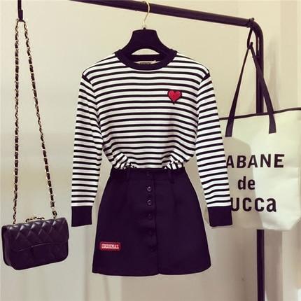 2017 Autumn Women Knit Clothing Set Ladies New Stripe Knit Sweater Harajuku A line Skirt Suits