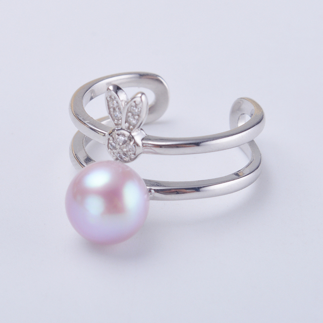 Fashion Pearl Ring Jewelry Of Silver The Rabbit Freshwater Wedding Rings 925 Sterling