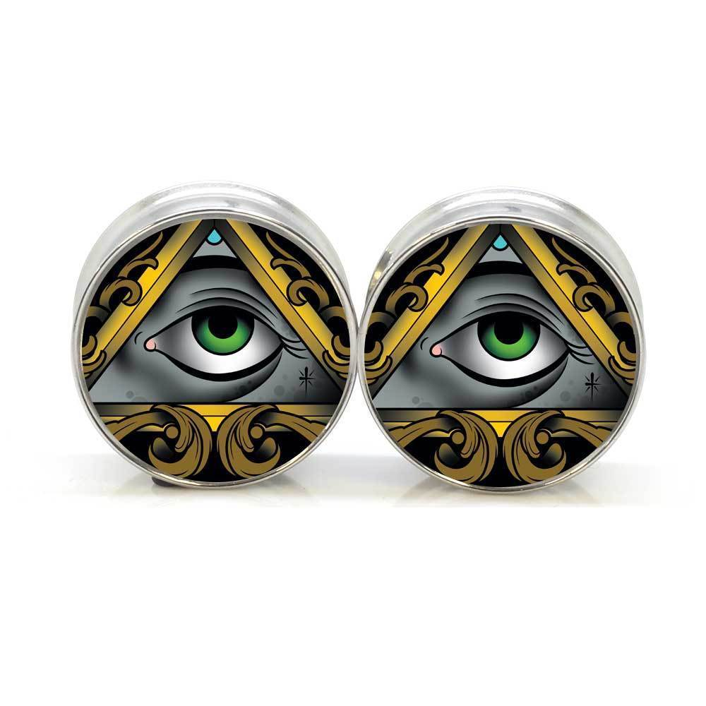 1 pair Stay Gold Illuminate stainless steel night owl plug tunnels double flare ear plug gauges body piercing jewelry