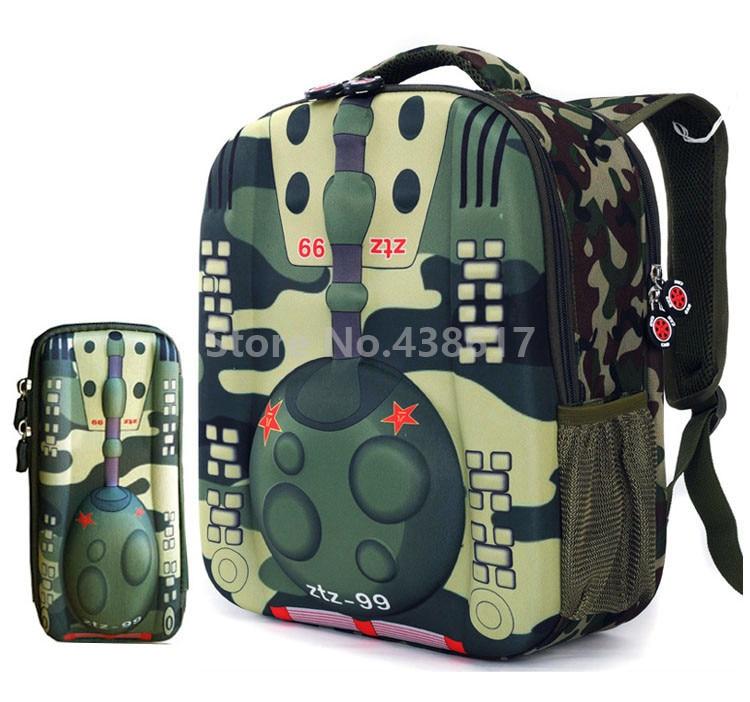 fedcf26d72 New 3D Tank Boys Backpack School Bags With Pencil Case Set for Kids  Children Kindergarten Preschool