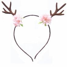 Girls Antler Flower Hairbands Women Deer Horn Ear Floral Headband Holloween Party Birthday Christmas Hair Crown Child Headpiece