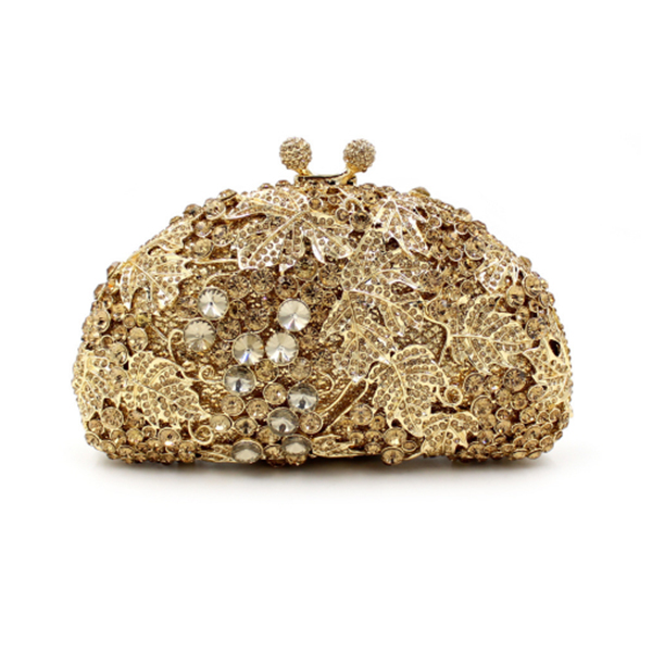Women's gold Crystal Evening bags Retro Chain Beaded Clutch Bags Wedding green Diamond Beaded Bag Rhinestone Small Shoulder Bags diamonds small clutch purse crystal beaded handbags chain shoulder evening finger ring bags for wedding party bag red gold blue