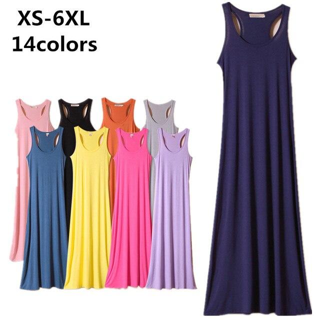 Новинка 2017 года женские одноцветное платье, большие размеры XS-5xl 6xl макси длинные удобные мягкие модал хлопчатобумажное платье, пляжное платье, черный красный розовый фиолетовый