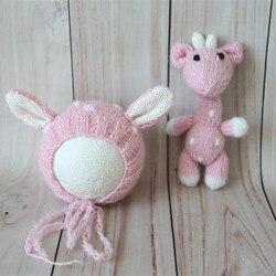 Handmade Stuffed Animal Toy and Hat Set Crocket Reindeer Bonnet and Doll Lovely Newborn Baby Girl Animal Bonnet Set Photo Props