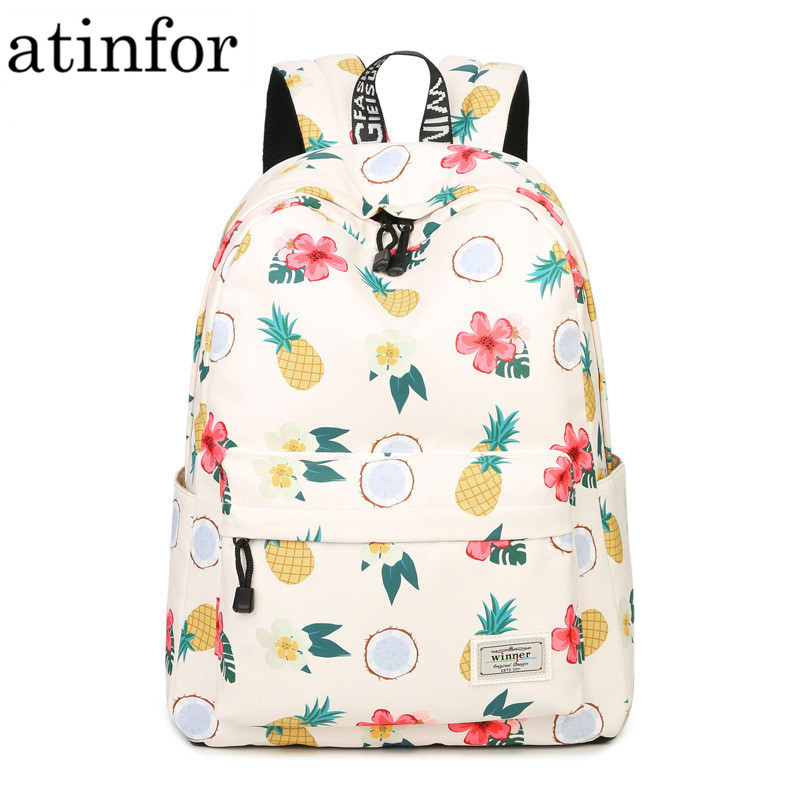 Simple Qualities Comfortable Girl Waterproof Polyester Backpacks Cute Pineapple Printing Female Students Backpack Bag