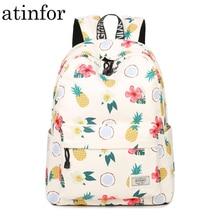 Proste cechy wygodna dziewczyna wodoodporne plecaki poliestrowe śliczny nadruk ananas torba damska plecak dla studentów