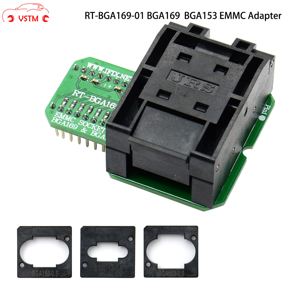 RT-<font><b>BGA169</b></font>-01 V2.0 EMMC Seat EMCP153 EMCP169 <font><b>Socket</b></font> <font><b>BGA169</b></font> BGA153 EMMC ADAPTER 11.5*13mm add more 3 pcs Matrix FOR RT809H image
