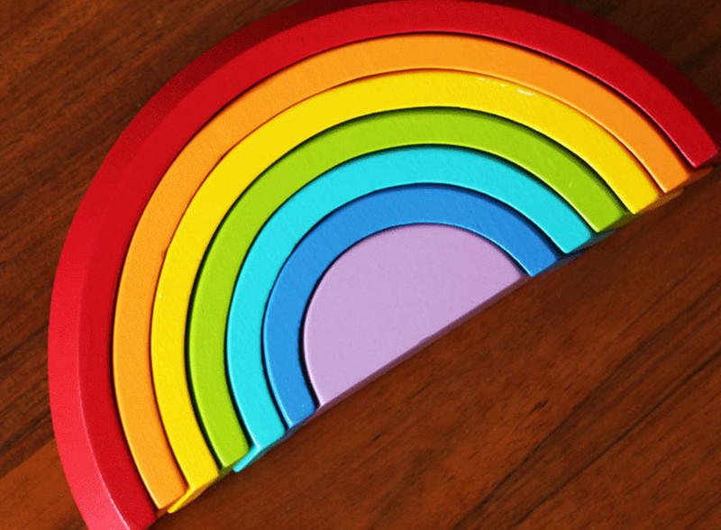 цена на New wooden toy DIY Colour Sort Rainbow wooden blocks baby educational toy baby gift Free shipping