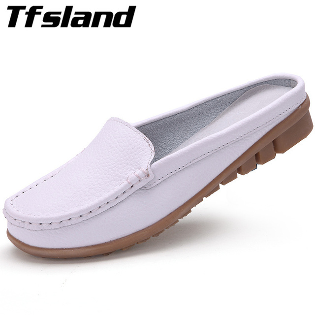 28f0677a522c7 Tfsland Women Soft Leather Sandals Summer Comfortable Flip Flops Half Slippers  Female Home Walking Shoes Sneakers Plus Size 42