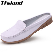 Tfsland Women Soft Leather Sandals Summer Comfortable Flip Flops Half Slippers Female Home Walking Shoes Sneakers Plus Size 42