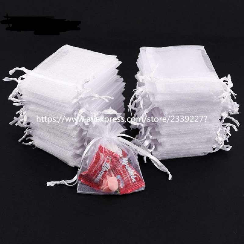 50pcs White Organza Bags Organza Drawstring Bags, Organza Drawstring Pouches, Candy Jewelry Party Wedding Favor Gift Bags 5z