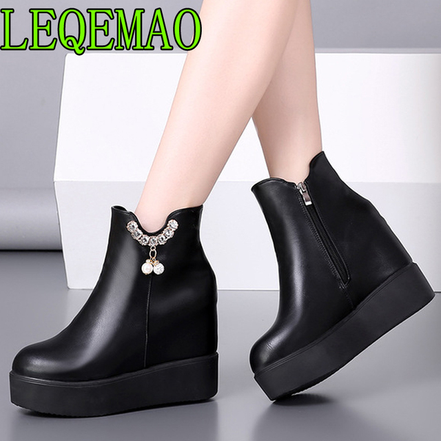 Leather Platform Wedge Boots Waterproof Autumn Winter Woman High Heels Plush Warm Snow Boots Women's Ankle Boots