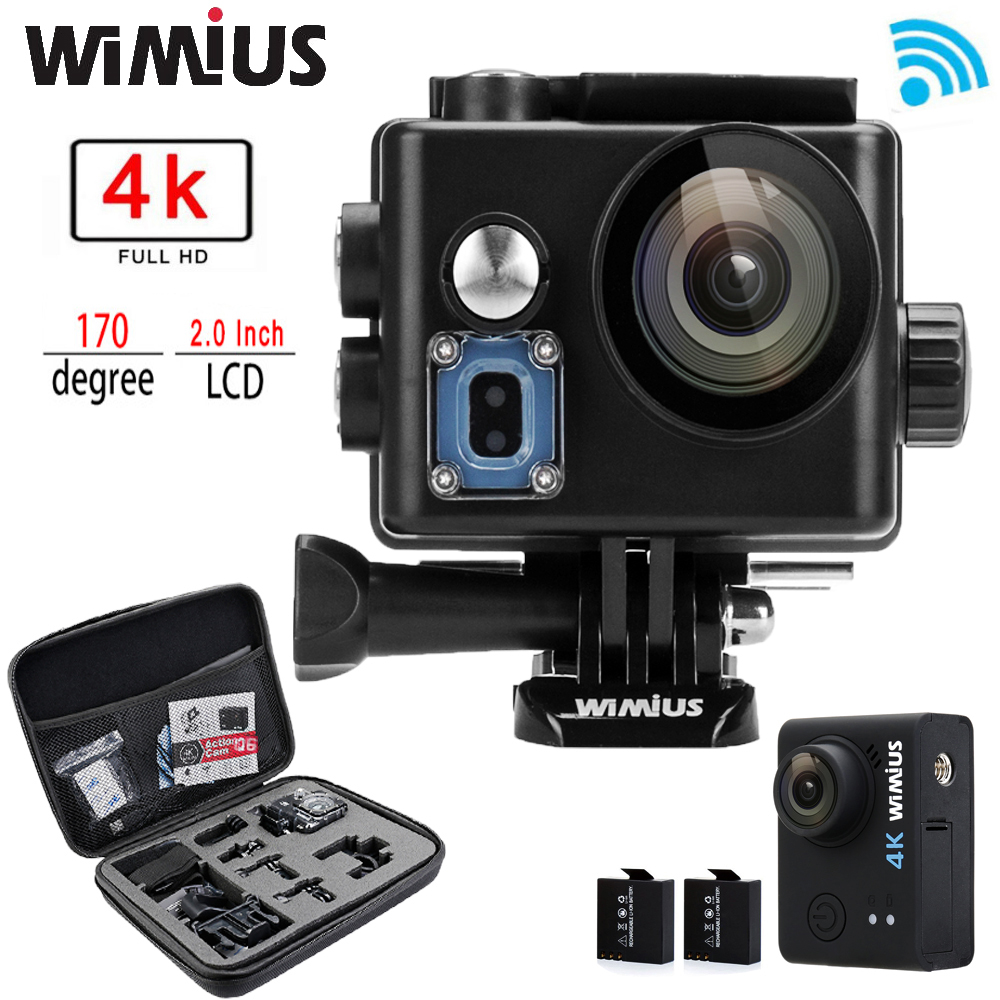 """Prix pour Wimius Q6/Q6 + 4 K WIFI Action Caméra Mini Sport Helmet Cam Full HD 1080 P 60FPS 2.0 """"aller Étanche 60 M Pro + Sac De Protection Cas"""
