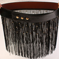 Fashion short skirt wide belt female black tassel decoration cummerbund punk leather skirt jean waist belt