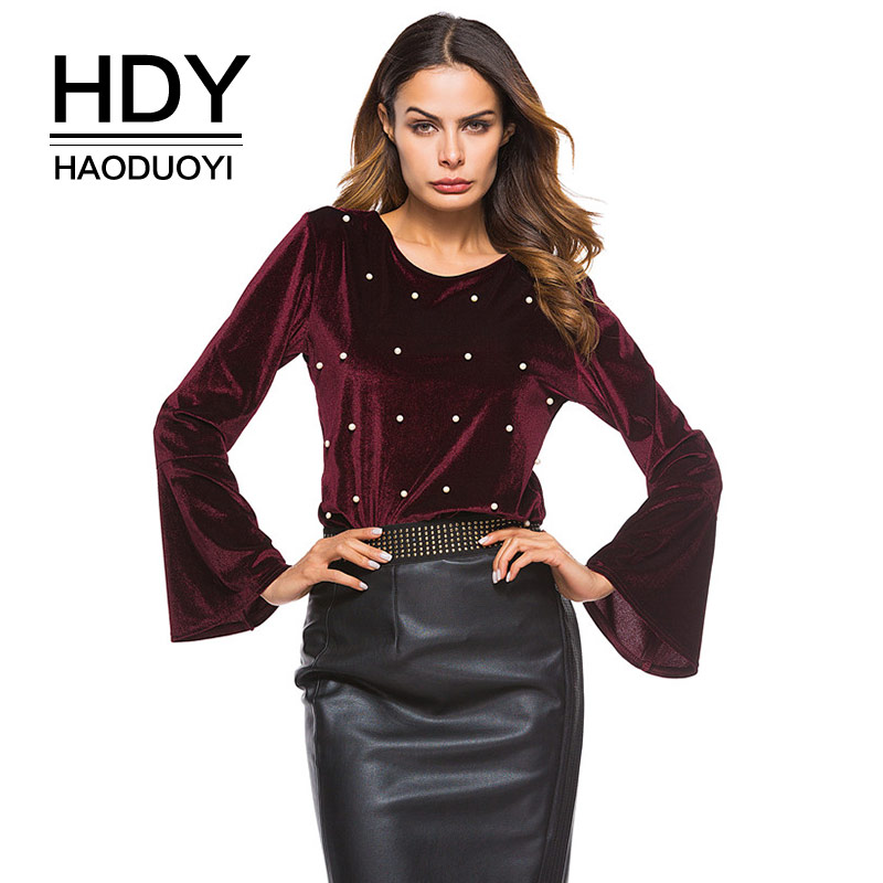 HDY Haoduoyi Velvet Blouse Women Long Flare Sleeve Wine Red Shirts Pearl Beading Elegant Blouses Tops