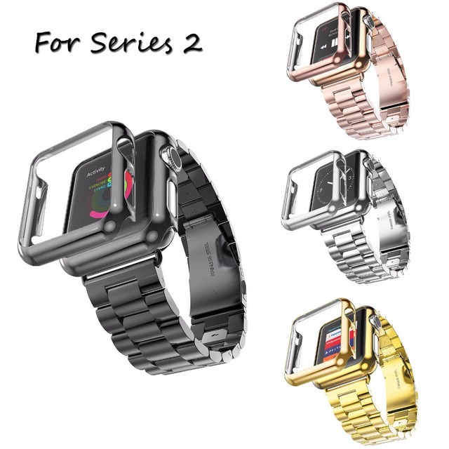 PINHEN Classic Stainless Steel Band for Apple Watch Series 2 Strap iWatch  2nd Watchband 42mm 38mm Gold Plated Cover Bumper Case 73c04c0f287e