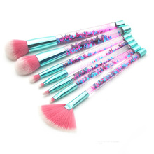 New 7pcs Unicorn Glitter Liquid Handle Makeup Brush Set Foundation Blending Power Eyeshadow Cosmetic Beauty Make Up With PVCbag