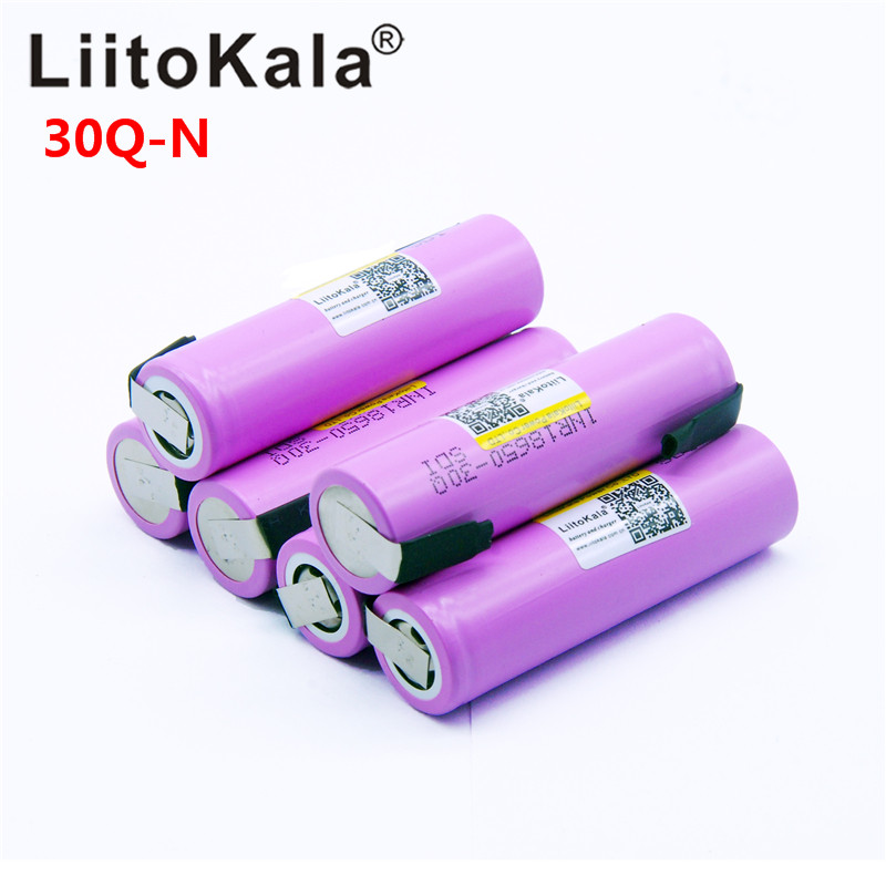 Litokala Original 18650 3000mah Battery INR18650 30Q-N 20A Discharge Li-ion Rechargeable Battery for E-cigarette