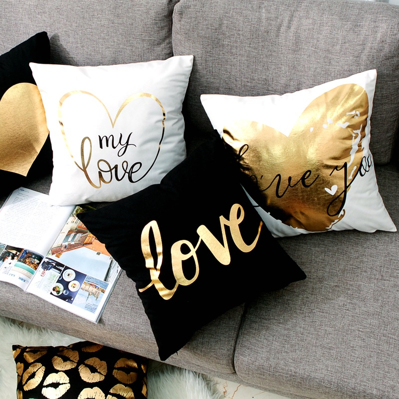 Love Black And White Gilding Foil Cushion Decorative Pillow Geometric Pillow Cushions Home Decor Sofa Throw Pillows 17*17inch
